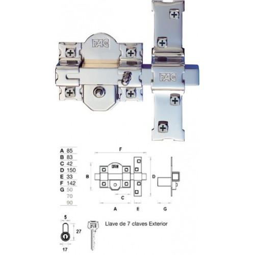 CERROJO FAC 301-R/80 NIQUEL
